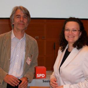 SPD Kreisvorsitzender Hans Feuß mit Andrea Nahles